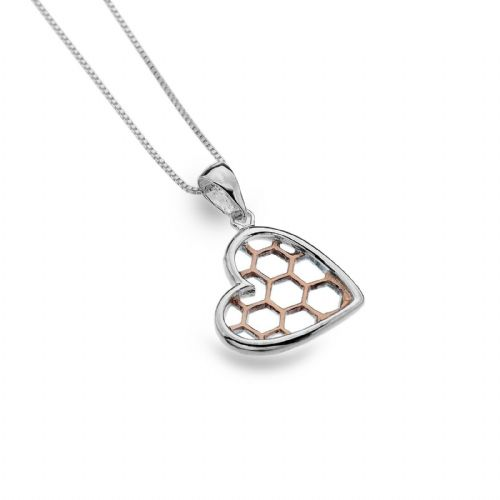 Heart Pendant Sterling Silver 925 Hallmarked Rose Gold Detail All Chain Lengths